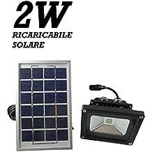FG - Foco LED con panel solar para iluminación externa, con batería integrada de 2000 mAh (4 LED, 2 W, 5 V, IP65)