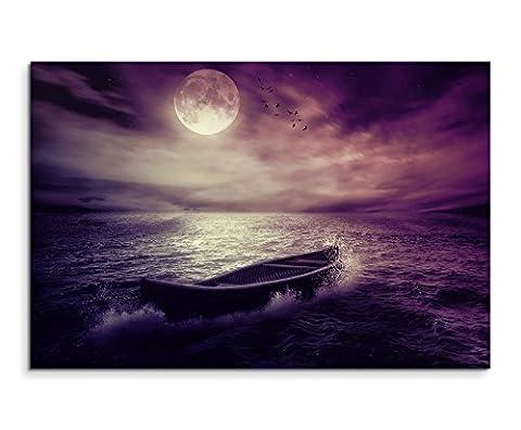 120x 80cm XXL énormes Photos montée avec cadre en bois véritable Mauve Nature Paysage Bateau mer après tempête Lune