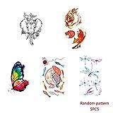 Elenxs 5PCS Linda del Animal ecológico Tatuaje del Cuerpo de la Etiqueta engomada Que Estampa la Muchacha de Las Mujeres temporeras de la Etiqueta de la decoración