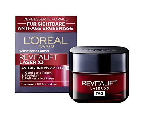 L'Oréal Paris Hyaluronsäure Creme, Hyaluron Feuchtigkeitscreme Gesicht, Revitalift Laser x3 Anti Age Gesichtscreme, 50ml
