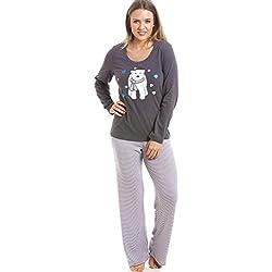 Conjunto de pijama largo - Estampado a rayas - Motivo oso polar - Gris y blanco 44