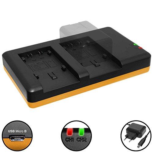 Dual-Ladegerät (Netz, USB) für Panasonic VW-VBT190, VBT380, VBY100 / HC-V…, VX..., W…, WX… kompatible Modelle siehe Liste! - inkl. 2A Netzteil (2 Akkus gleichzeitig ladbar)