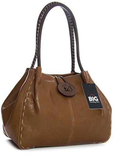 Big Handbag Shop, Borsa a spalla donna One Medium Tan (BH154)