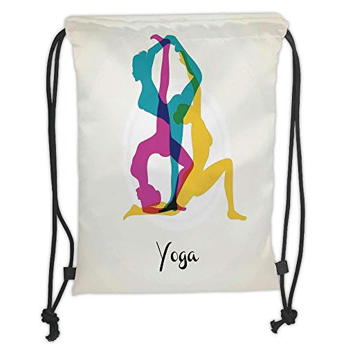 Trsdshorts Drawstring Backpacks Bags,Yoga Decor,Different Yoga Poses Energetic Female in Motion Pilates Human Health Wellbeing Design,Pink Yellow Teal Soft Satin,5 Liter Capacity,Adjustable S