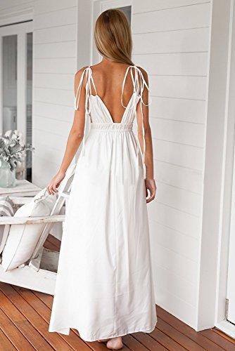 Frauen-Kleid mit V-Ausschnitt Spaghetti-Bügel-Sommer-Strand-Maxi Sundress Weiß