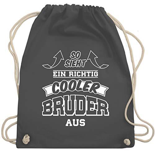 Bruder & Onkel - So sieht ein richtig cooler Bruder aus - Unisize - Dunkelgrau - WM110 - Turnbeutel & Gym Bag