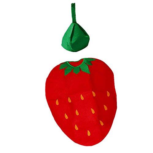 Kinder Erdbeere Kostüm - MagiDeal Kinder Obst Kostüm Karneval Fasching Kostüme Halloween Cosplay Party Bekleidung - Erdbeer