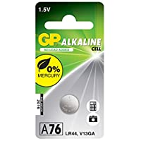 Gp Batteries Gpa76 Lr44/A76/V13Ga/Ag13 Boy Alkalin Düğme Pil, 1.5 Volt, 10'Lu Kart