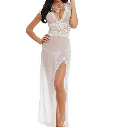 Lieberpaar Damen Mesh und Spitze V-Ausschnitt schiere Dessous langes Kleid mit G-String Unterwäsche (Slip-dessous-kleid)