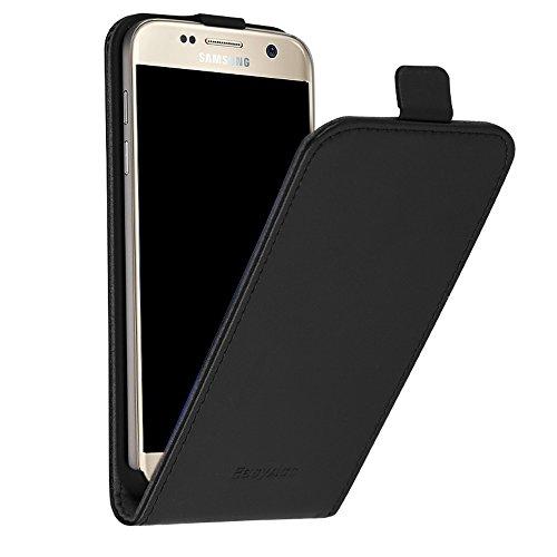 EasyAcc Samsung Galaxy S7 ECHT LEDER Hülle Lederhülle Handyhülle Flip Case Cover + Schutzfolie und Reinigungstuch ECHT Leder Schwarz