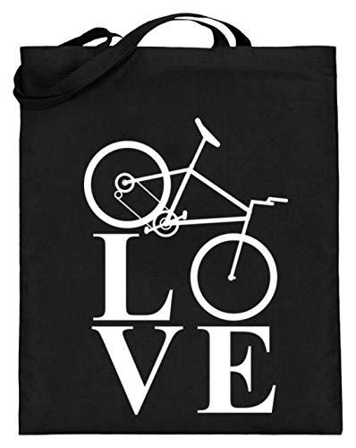 generisch Love Fahrradfahren/Biking/Cycling/Fahrrad/Downhill/Radrennen/Mountain Bike - Jutebeutel (mit langen Henkeln) -38cm-42cm-Schwarz -