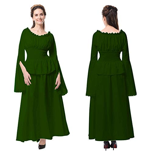 Wawer_Damen Kleid  Frauen Retro Mittelalter Renaissance Cosplay Vintage Party Club Elegante Maxi-Kleid, langes Kleid, Knöchellänge Strandkleid Abendkleid Faltenrock