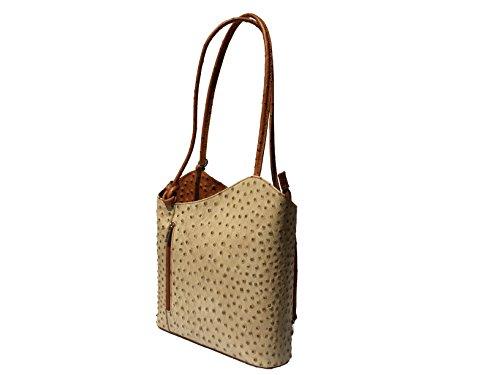 Edle Damen Handtasche Rucksacktasche Rucksackhandtasche Echtleder Made in Italy beige cognac
