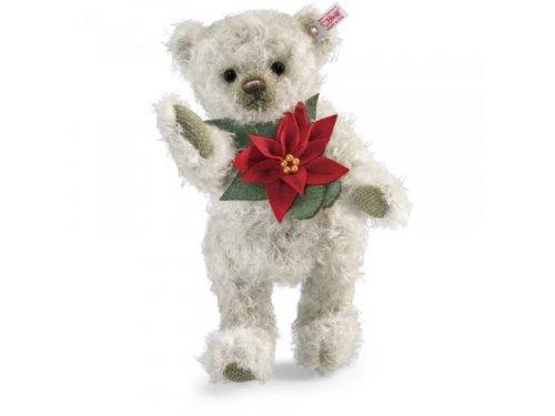 Steiff 035463 Poinsettia Teddybär, 30 cm, Mohair, grau