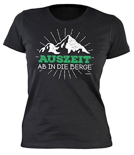 Zeichen Damen Schnitt T-shirt (Klettern Wandern T-Shirt Damen Hobby Freizeit Freiklettern AUSZEIT Bergsteigen Ausrüstung Alpinisten Berg Sport Freeclimbing Klettersteiggehen Gr. M : ))