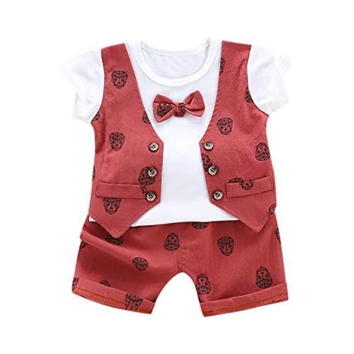 Happy Event Infant Baby Jungen Sommer Gentleman Print Kurzarm Bogen Hemd + Shorts Hosen Sets (Rot, 3-6 Months-S) - Plaid Print Polo
