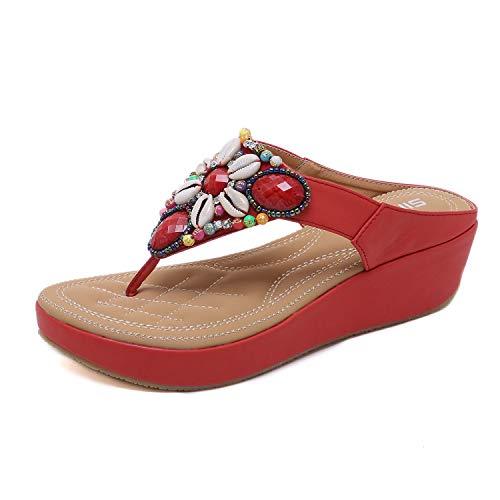 HAINE Damen Sommer Böhmische Sandalen Mit Keilabsatz Mit Flip-Flops Rot 40EU (Red Sparkly Schuhe Für Mädchen)