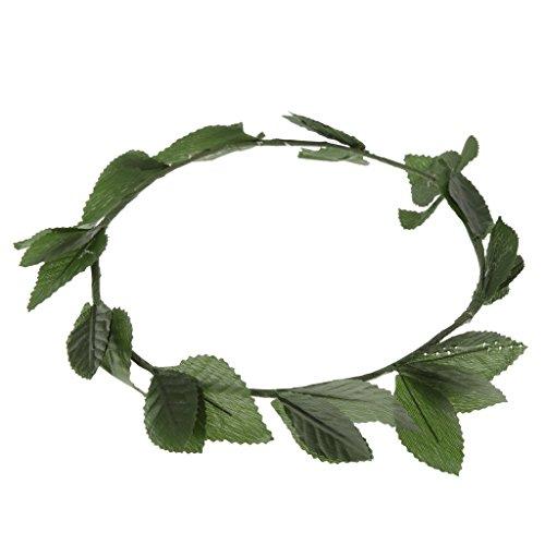 P Prettyia Damen Mädchen Bohemian Grüne Blätter Kranz Stirnband Krone Blumengirlande Haarschmuck Dekoration für Hochzeits Geburtstag Party