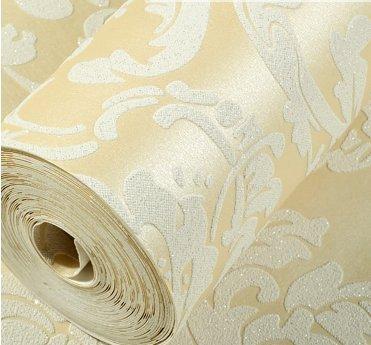 3D Stereo Damas papier peint tissu non tissé confortable chambre à coucher salle de séjour le papier peint de couleur crème