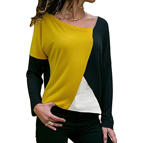 d6129443f02d Avanon Rundals Sweatshirts Langarmshirts Damen Bluse Herbst Shirt Nähen mit  Kontrastfarbe Lose Hemd Oberteil (Schwarz, M)