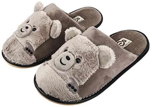 Irsoe Men's Comfort Foam Brown Slippers Wool...