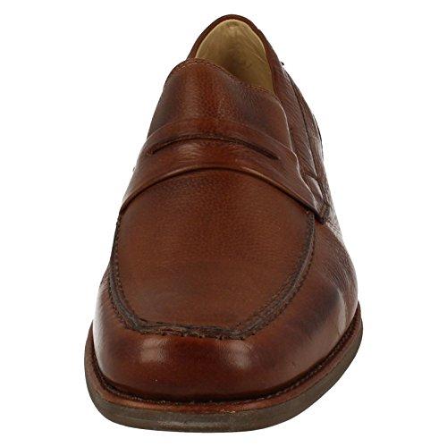 Herren SMART Leder Slip auf Schuhe Barbosa–�?77710 Tan Toast Floater