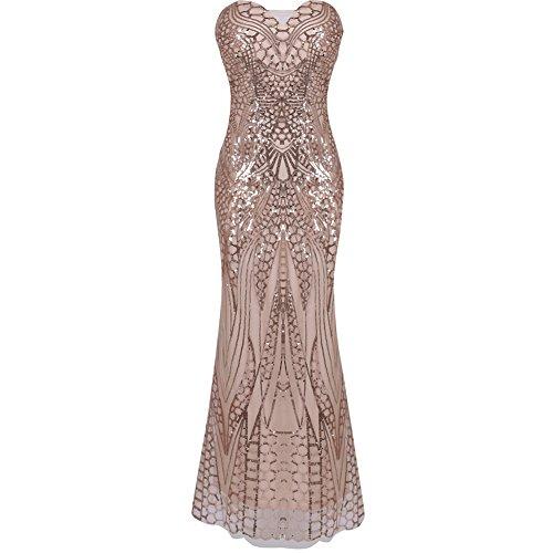 iShine Mujeres 1920 Gatsby V- Cuello Lentejuelas de Pescado Maxi Largo de Noche Vestido de Fiesta
