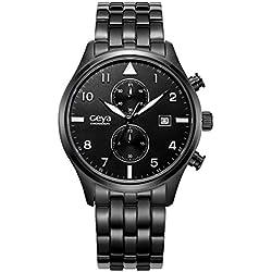 GAYA Herren GY75001A Chronograph Stoppuhr Multifunktions -Edelstahl-analoge Quarz Anzeige Armbanduhr schwarz (schwarz)