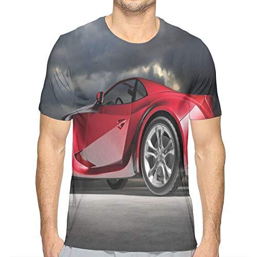 Motor Kleinkind T-shirt (3D gedruckte T-Shirts, moderner roter Sportwagen auf drastischem Himmel-Hintergrund mit dunklem Cloudscape-starkem Motor)