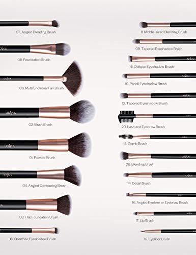 Set de Brochas de maquillaje profesional 20 pcs ANJOU Brochas maquillaje comésticos para sombra de ojos colorete polvo y cejas con bolsa de viaje