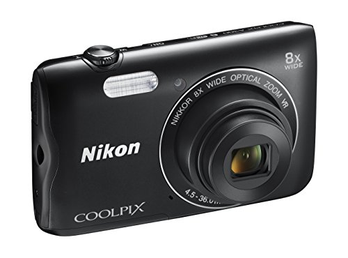 Nikon coolpix a300 fotocamera digitale compatta, 20.1 mp, zoom wide 8x, vr, filmati hd, bluetooth, wi-fi, nero [nital card: 4 anni di garanzia]