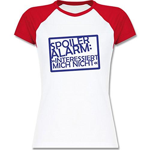 Sprüche - Spoiler-Alarm: Interessiert mich nicht - zweifarbiges Baseballshirt / Raglan T-Shirt für Damen Weiß/Rot
