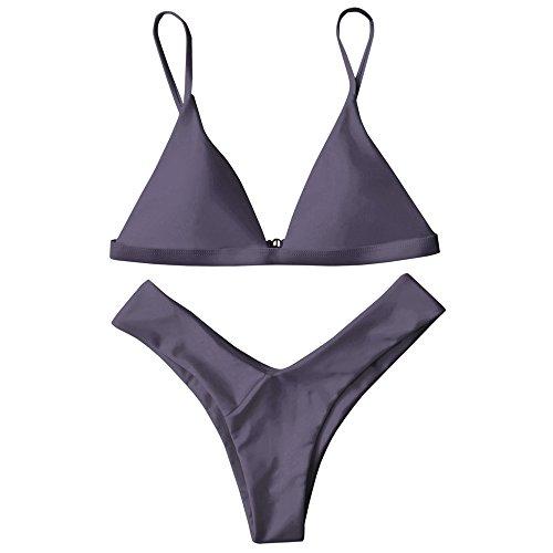ZAFUL Damen Sport Push-Up Wickeln Bikini Sets Bademode Badeanzug Swimwear Swimsuit?TARO M?