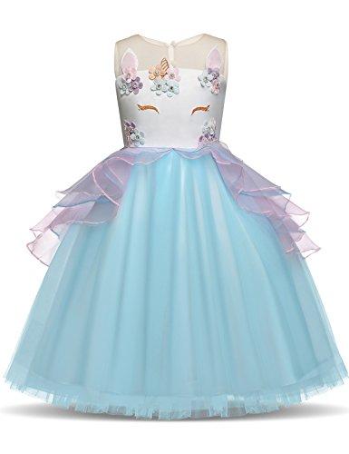 NNJXD Mädchen Einhorn Blume Rüschen Cosplay Party Hochzeit Prinzessin Kleid Größe (140) 7-8...