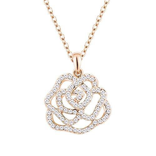 MingXinJia Mode Anhänger Damen Halskette Damen Halskette Mode Anhänger Kristall Halskette-Glen Rose 22 *   21Mm Legierung Geschenk für Frauen und Mädchen, 3# (Glen Rose)