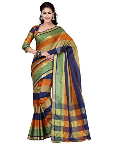 Deepika Saree Multi Color Art Silk Saree with Blouse  available at amazon for Rs.990