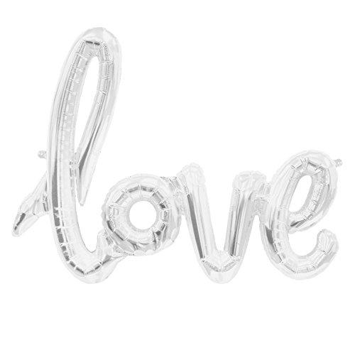 ballonfritz® Love-Schriftzug Luftballon in Silber - XXL Folienballon als Hochzeit Deko, Geschenk oder Liebes-Überraschung zum Valentinstag