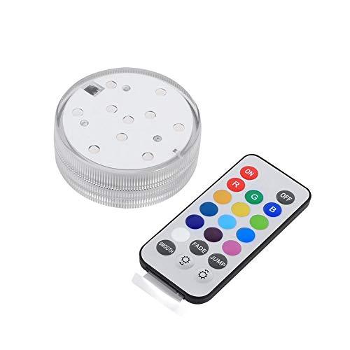 TOPINCN Topina Lampe de plongée LED étanche avec télécommande 10 LED Clignotantes Multicolores Éclairage électronique de Campagne Lumière Submersible pour Aquarium Vase Base