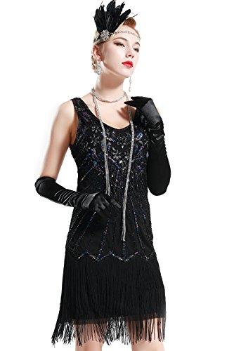 BABEYOND Damen Kleid Retro 1920er Stil Flapper Kleider mit Zwei Schichten Troddel V Ausschnitt Great Gatsby Motto Party Kleider Damen Kostüm Kleid (Lavendel Schwarz, XXXL) -