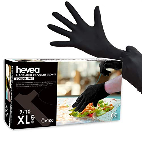 Hevea - Einweghandschuhe aus Nitril. Puder- und latexfrei. Packung aus 5 Kartons mit je 100 Handschuhen. Größe: XL (extragroß). Farbe: Schwarz