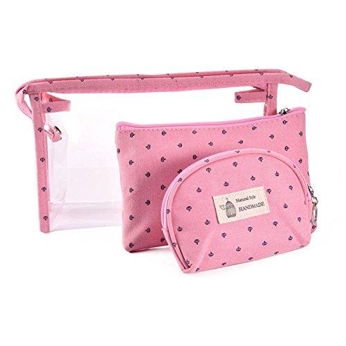 hoyofo 3klar Toiletry Make-up Wash Bag Travel Set Wasserdicht Tasche rosa rose (Bag Travel Tsa)