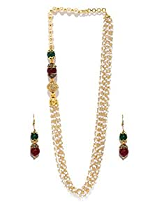 Zaveri Pearls Multi Layered Tulasi Mala with multicolored Beeds Long Necklace Set For Women - ZPFK5413