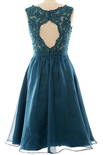 MACloth Women V Neck Vintage Lace Chiffon Short Prom Dresses Wedding Party Gown Teal
