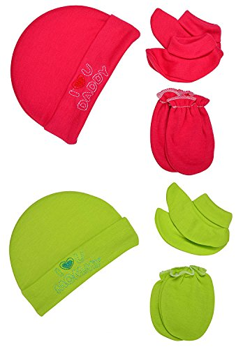 "Baby Bucket ""I LOVE MUMMY & I LOVE DADDY"" Premium Quality Light Weight Regular Fit Hosiery Material Stretchable Baby Cap Set (Red & Yellow green)"