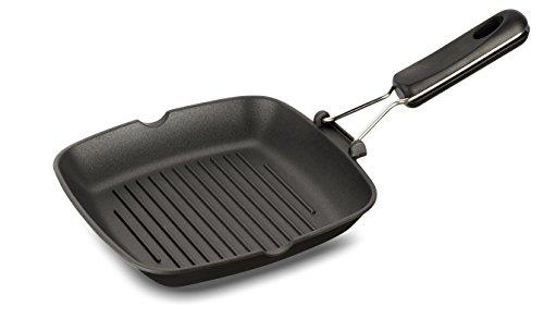 Lagostina easy grill, quadrato, antiaderente, alluminio pressofuso, nero, diametro 25 x 25 cm
