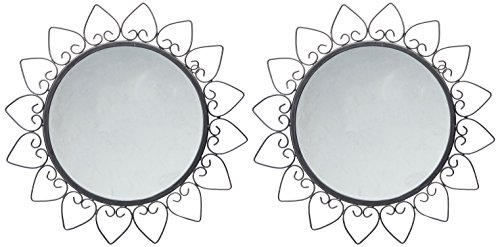 Hosley Decorative Round Iron Wall Mirror (20.32 cm x 30.48 cm, Black, Set of 2)