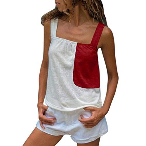 Andouy Damen Camis - Top - Farbblock - Ärmellose Träger - Trägershirt Gr.36-42 Sexy Party - Unterhemd(S(36),)