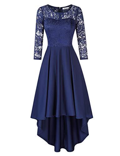 KOJOOIN Damen Abendkleider/Cocktailkleid/Brautjungfernkleider für Hochzeit Unregelmässiges Kurzes Spitzenkleid Langarm Navyblau Dunkelblau S