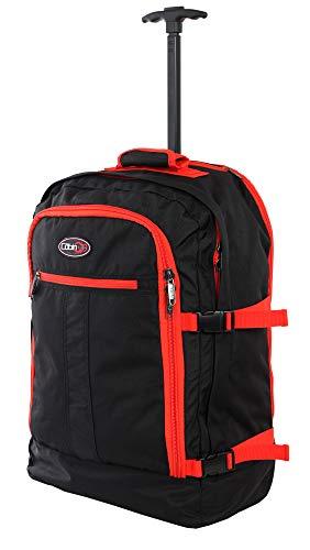 CABIN GO cod. MAX 55 trolley - Zaino bagaglio a mano/cabina da viaggio leggero. - 55 x 40 x 20 cm, 44 litri - con ruote. Approvato volo IATA/EasyJet/Ryanair (5520 Nero/Arancio)