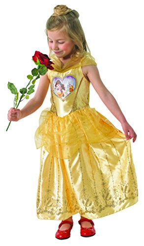 Goldene Belle - Loveheart Dress - Disney Princess - Chidlren Kostüm - Large - 128cm (Biest Disney Kostüm)